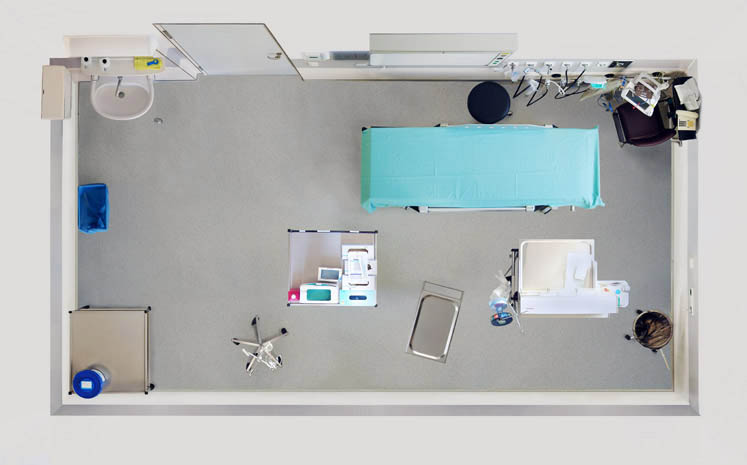 birds eye view of a doctors room from above