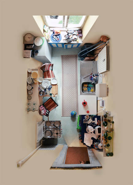 birds eye view of a kitchen from above