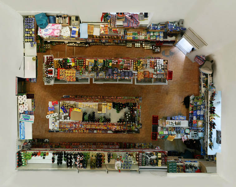 birds eye view of a store from above