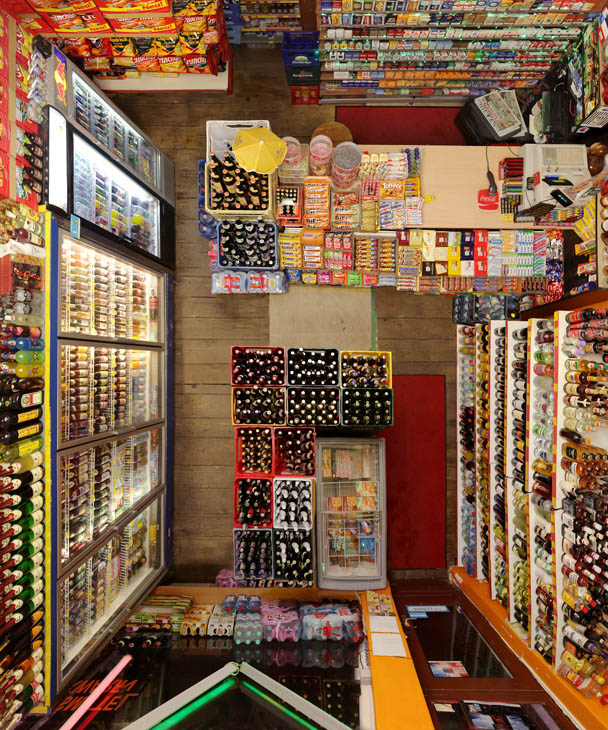 photo of a convenient store from above looking down
