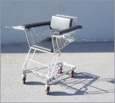 turning a shopping cart into a rolling chair