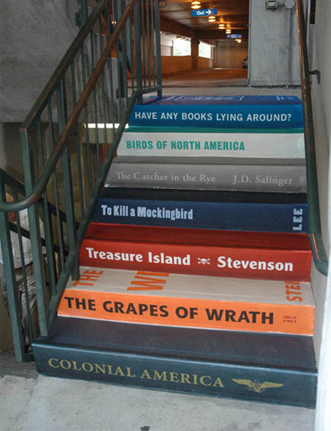 each step looks like spine of famous book using vinyl sticker