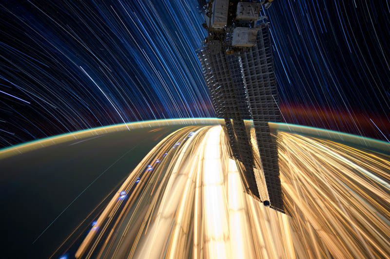 star trails seen from space iss nasa don pettit 18 21 Star Trails Captured from Space