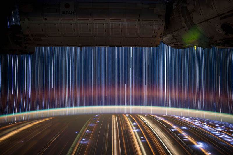 star trails seen from space iss nasa don pettit 4 21 Star Trails Captured from Space