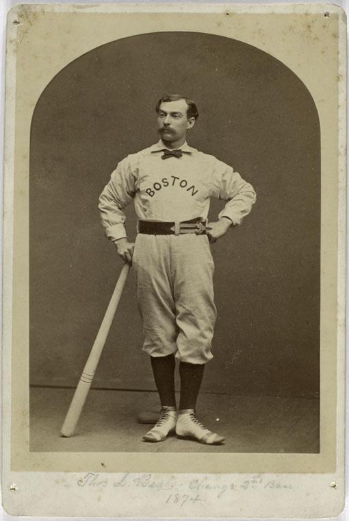 Tommy Beals, 1874 Change 2nd base (1874) striking a baseball pose