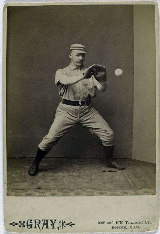 Deacon McGuire, Philadelphia Quakers about to catch a baseball