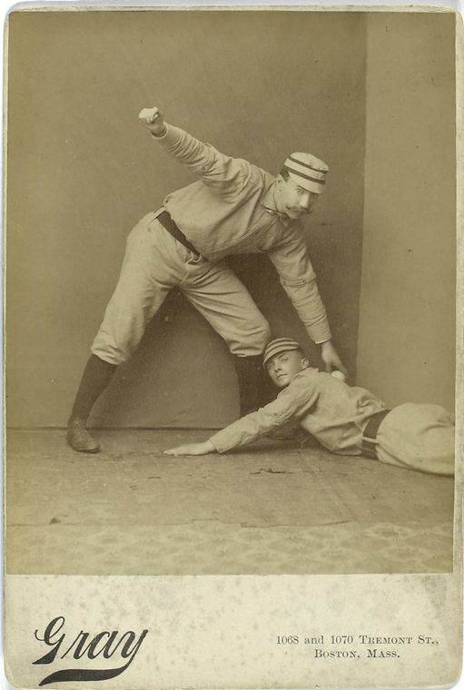 Charlie Ferguson and Tommy McCarthy, Philadelphia Quakers weird sliding baseball photo