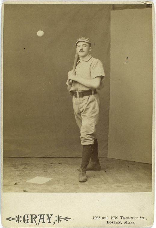 Jim Fogarty, Philadelphia Quakers standing with bat as baseball approaches him from left