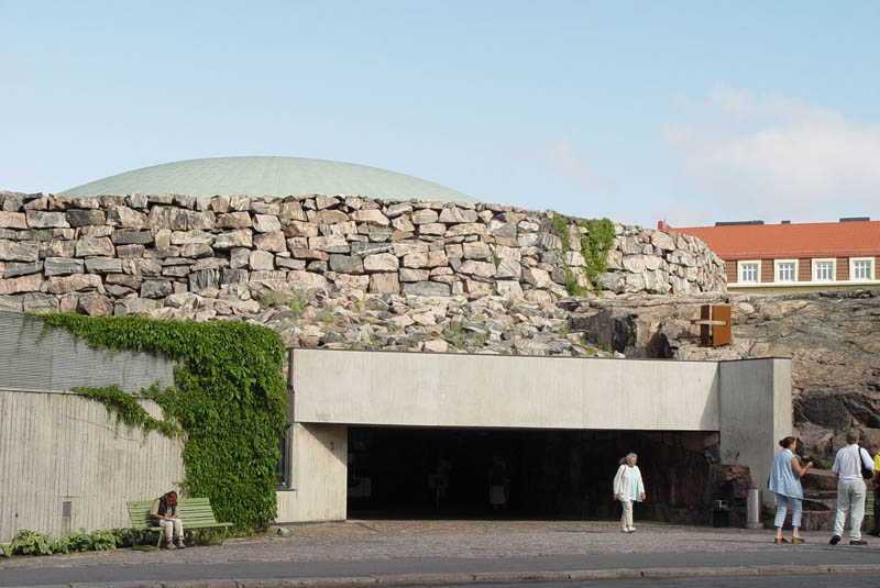 exterior shot of the front door entrace to the Temppeliaukio Rock Church in Helsinki Finland