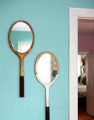 old tennis racket as a small mirror