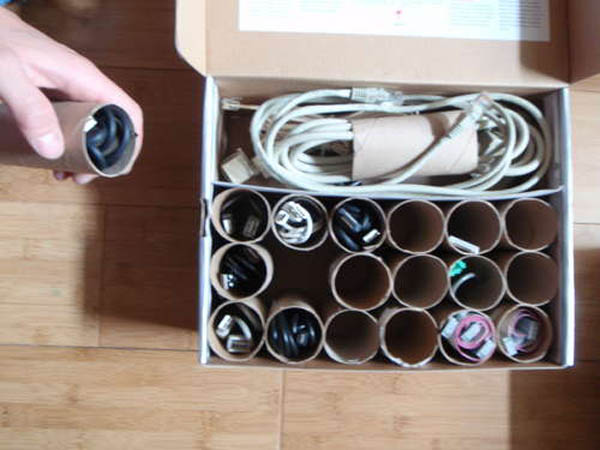 toilet paper rolls used to store cables and wires