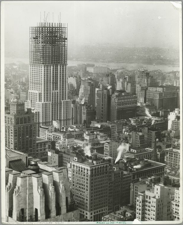 View of the building from a distance at about 3/4 completion (1931)