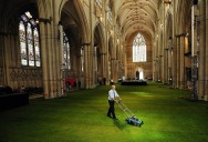 York Minster Cathedral's Floor Covered in Grass