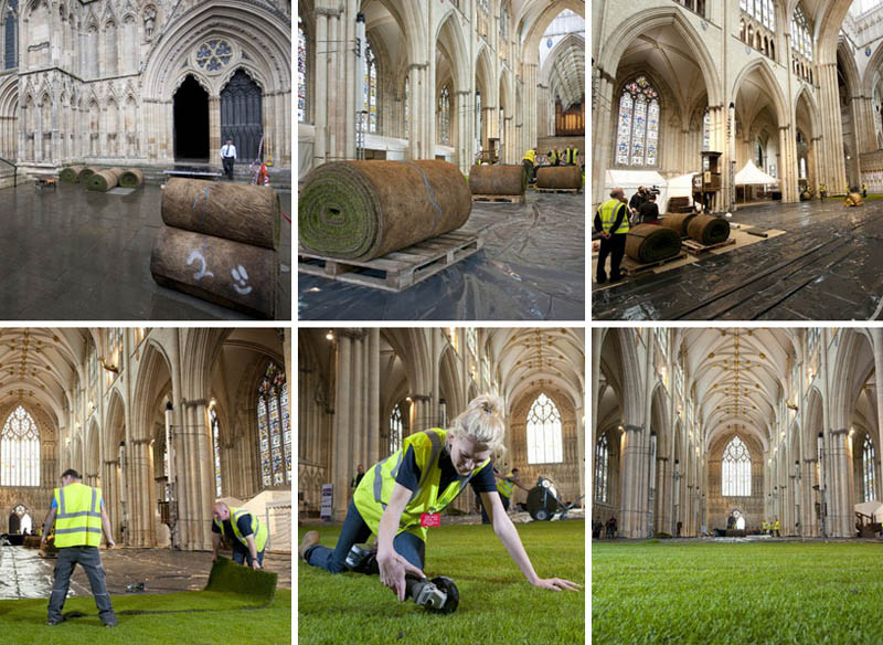 sequence of six photos showing the preparation setup and installation of real grass inside west minster cathedral