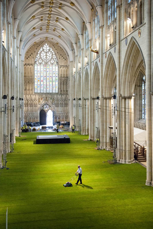 wow grass installed inside the york minster cathedral aerial shot from above