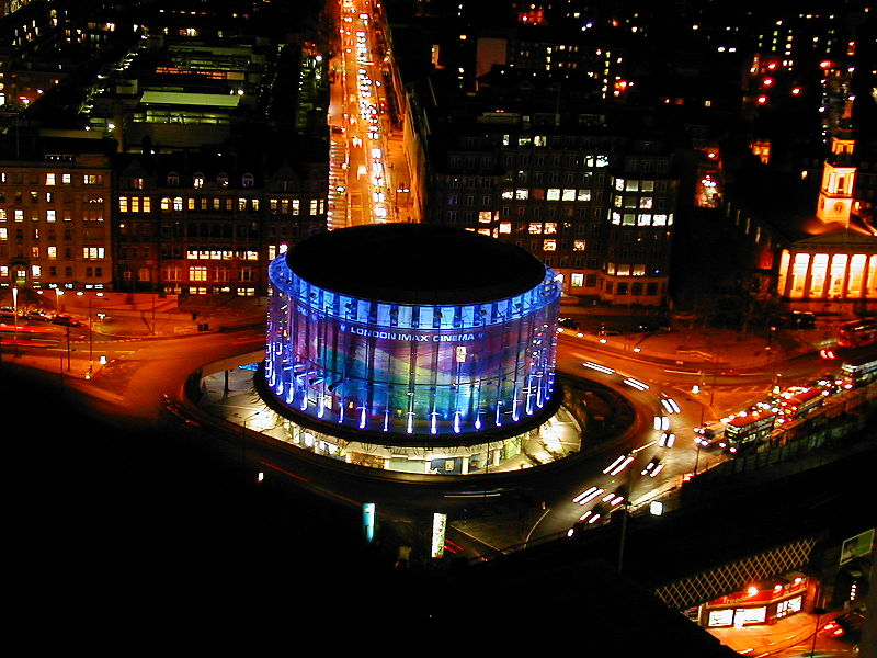 aerial of bfi london imax at night from above Replacing an IMAX Screen [44 pics]