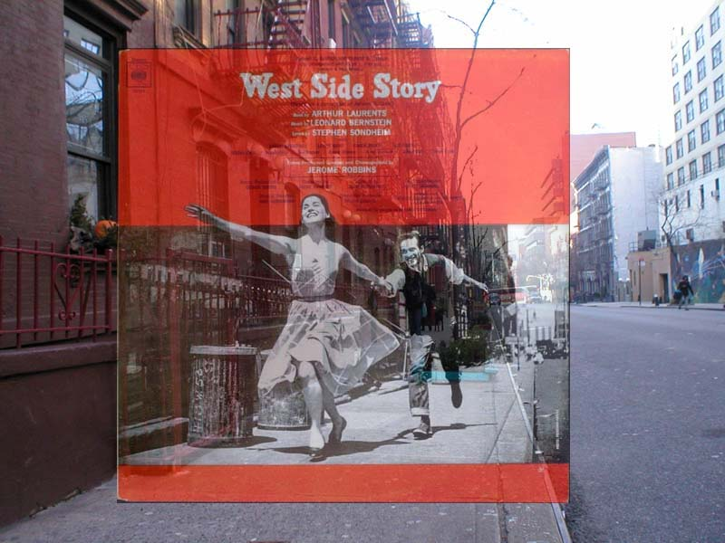 west side story album cover in front of actual location