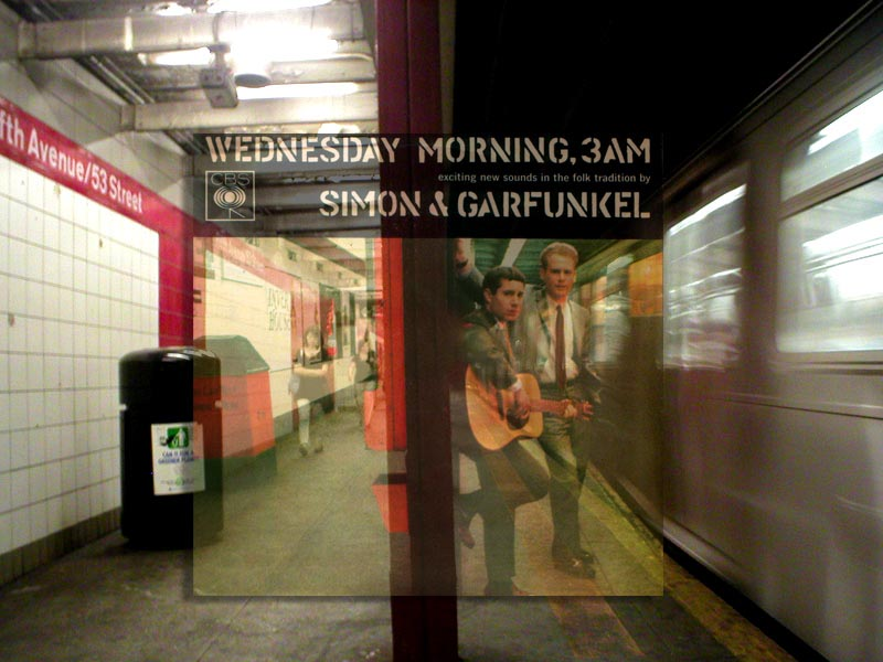 location of simon and garfunkel album cover with album in front