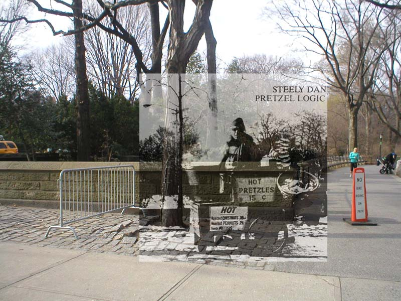 steely dan pretzel logic album cover in front of actual location in new york