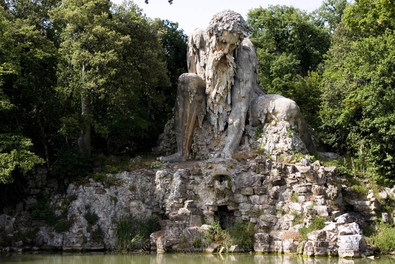 giant rock sculpture by giambologna at villa di pratolino