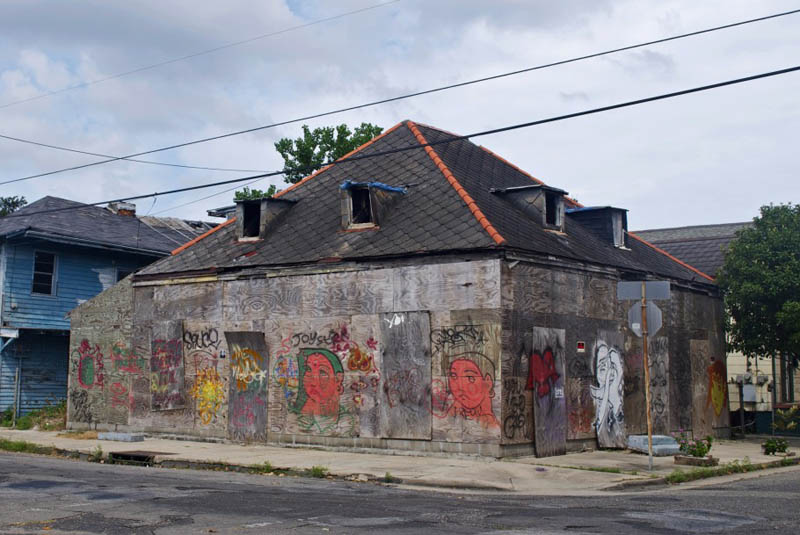 the first location of the before i die street project by candy chang in new orleans on an abandoned building