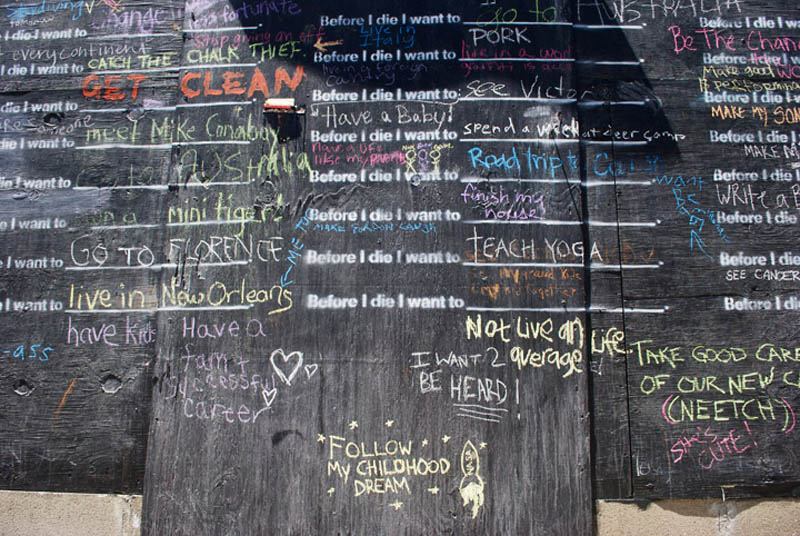 close up of before i die wall with peoples submissions