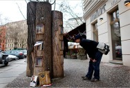 Fallen Trees Turned Into Public Bookcases in Berlin