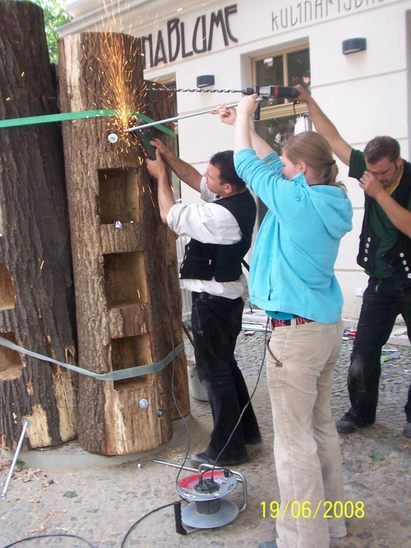book forest public bookcase in berlin germany being set up