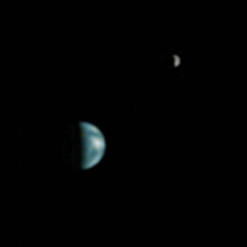 picture of the earth and moon as seen from mars