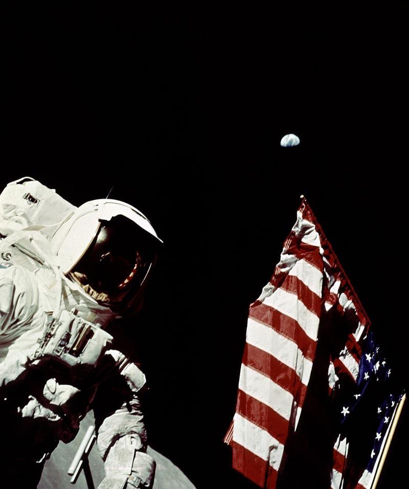 Apollo 17 Astronaut Cernan Adjusts U.S. Flag on Lunar Surface