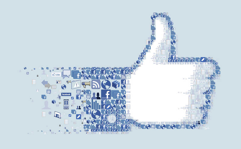 photo mosaic for facebook like thumbs up made up of facebook icons