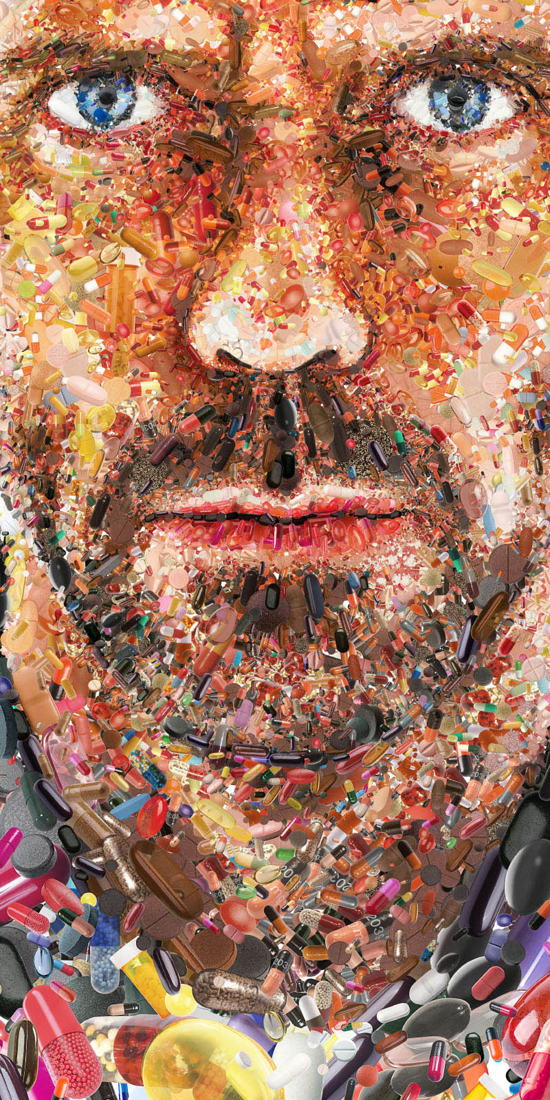 close up of photo mosaic for hugh laurie made of pills meds and doctor hospital related imagery