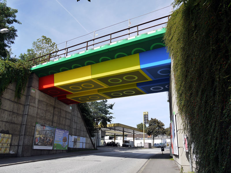 bridge that looks like its made of lego in germany by street artist megx