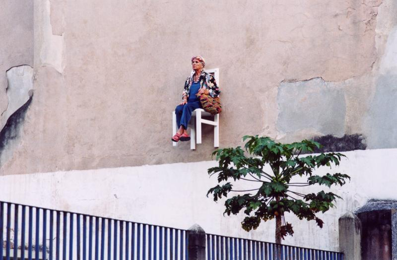 old people sitting in chairs high above ground in montreal angie heisl 6 Elderly People Suspended High Above the Streets of Montreal