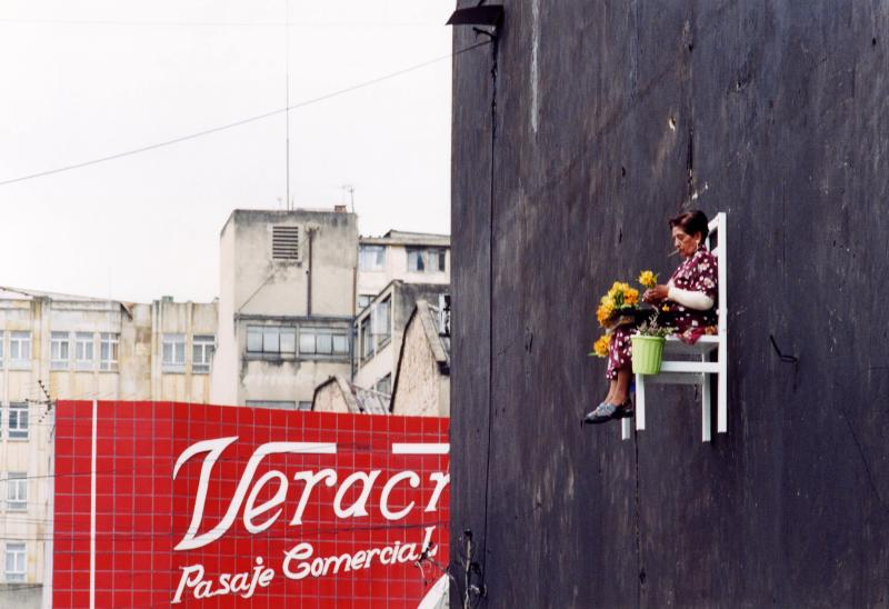 old people sitting in chairs high above ground in montreal angie heisl 9 Elderly People Suspended High Above the Streets of Montreal