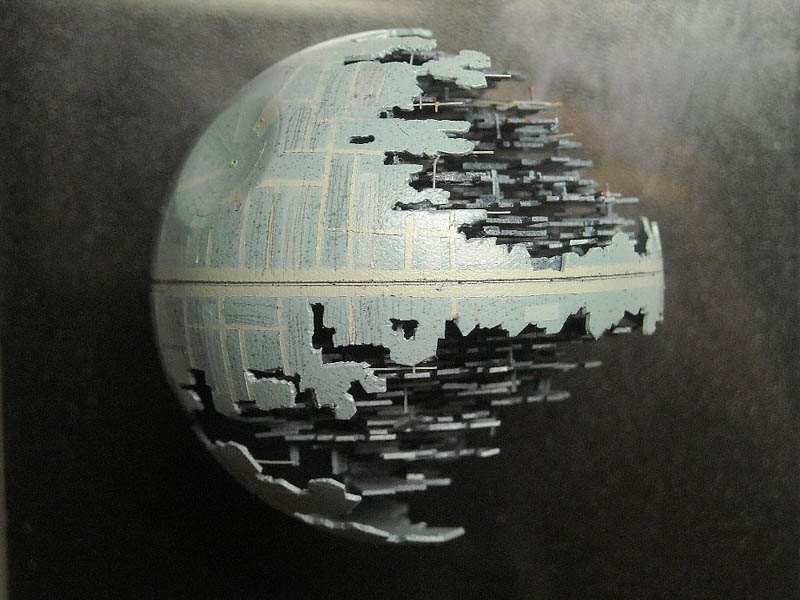 star wars death star made from a ping pong ball close up shot