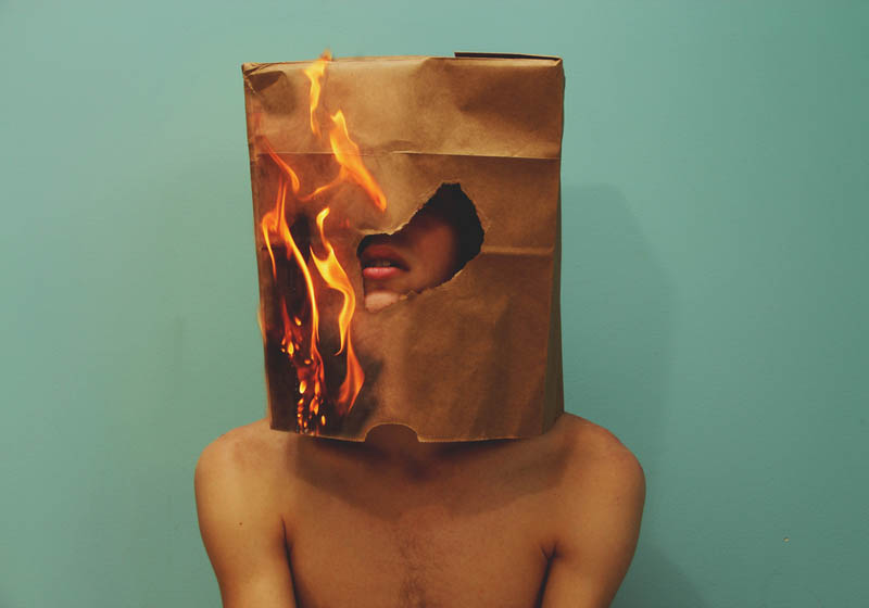 kyle thompson self portrait with paper bag on fire over his head