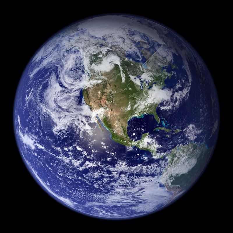 the blue marble image of earth and also the default image on the iphone