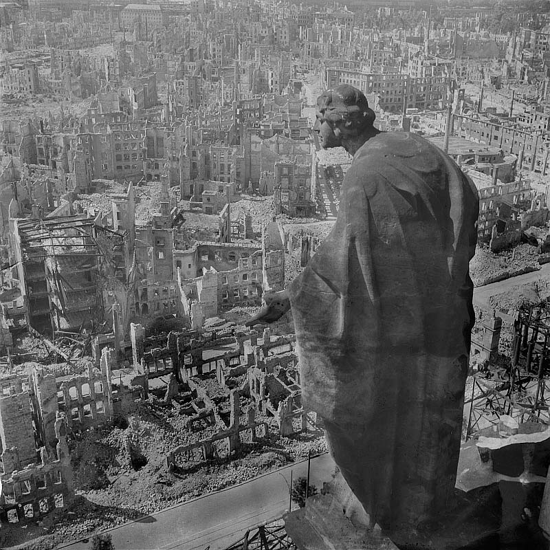 the bombing of dresden statue overlooking city The Top 75 Pictures of the Day for 2012