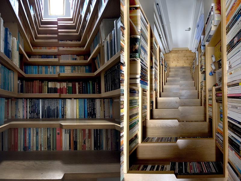 looking up and looking down a bookshelf staircase