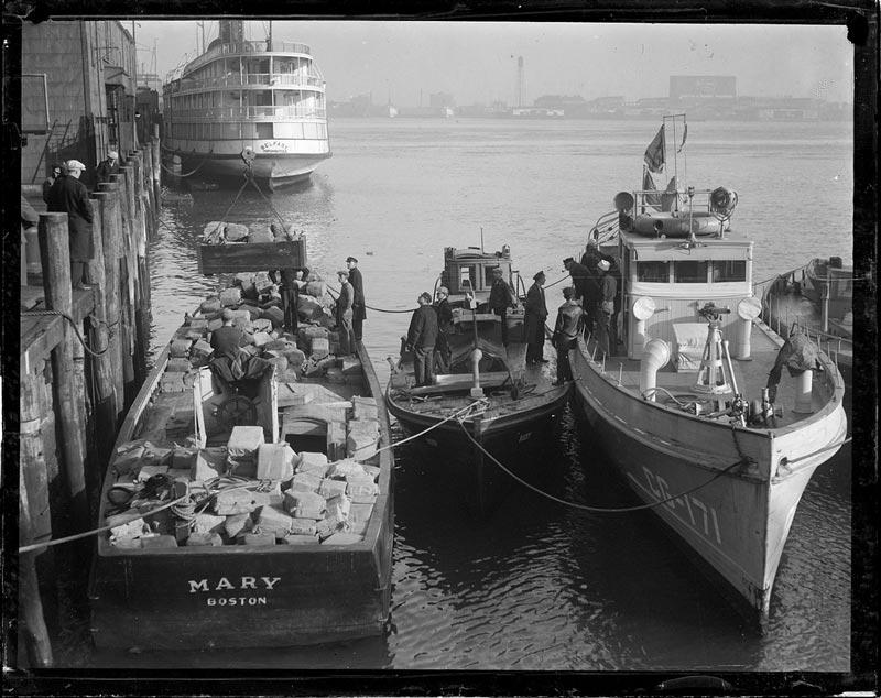 $175,000 in Liquor Seized by Coast Guard during prohibition in boston - Jan. 18, 1932