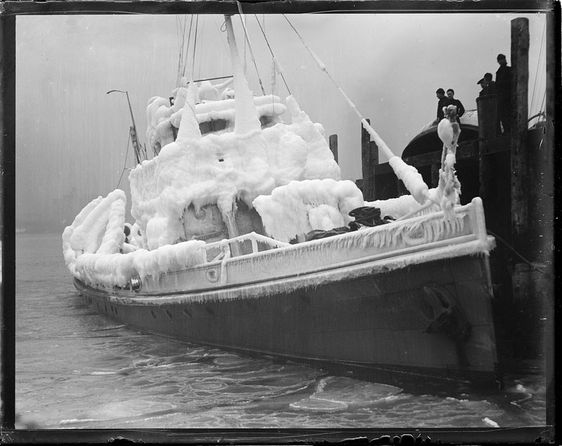 rum chaser dallas covered in ice after patrolling in zero weather for 7 hours