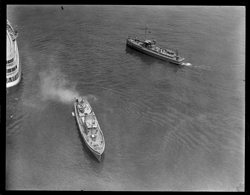 Aerial view of rum runners on the water
