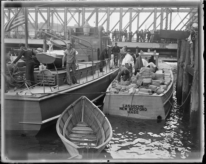 Captured rum runner brought to the appraiser's stores