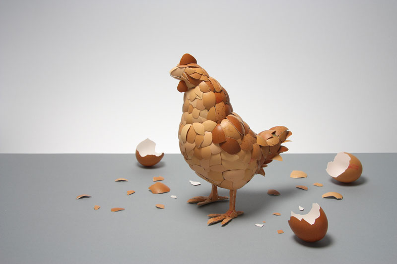chicken made of egg shells kyle bean Inventive Hand Crafted Art by Kyle Bean