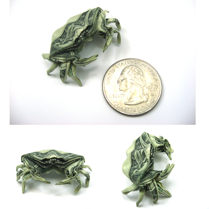 crab made from dollar bill origami by won park Amazing Origami Using Only Dollar Bills