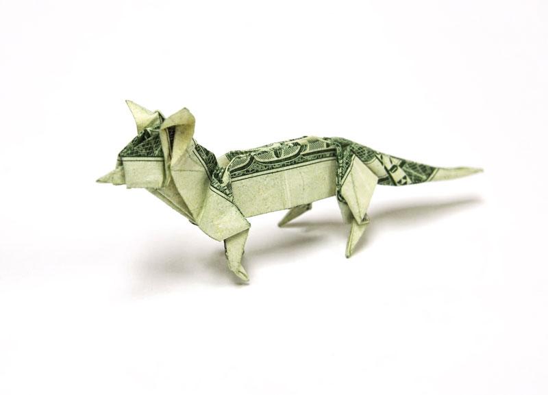 fox made from dollar bill origami by won park Amazing Origami Using Only Dollar Bills