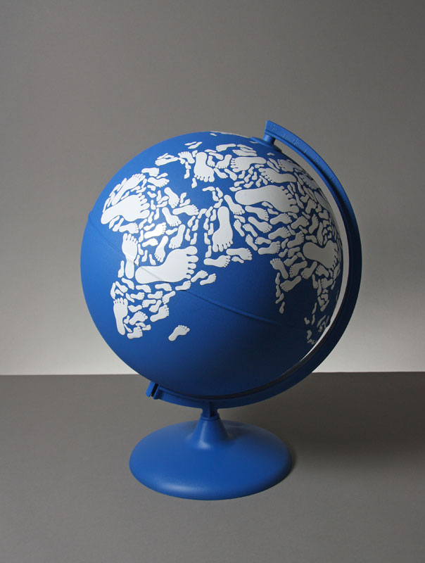 globe made with footprints kyle bean Inventive Hand Crafted Art by Kyle Bean