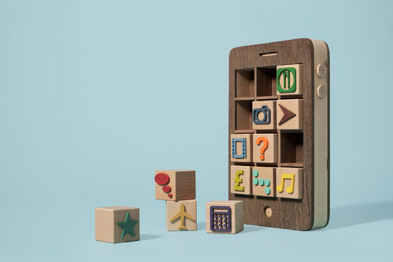 iphone wood blocks for kids kyle bean Inventive Hand Crafted Art by Kyle Bean