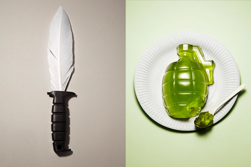 knife with feather for blad and grenade made from jello Inventive Hand Crafted Art by Kyle Bean